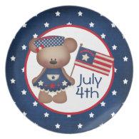 4th Of July Teddy Bear Plate
