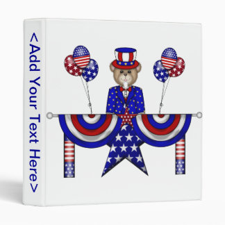 4th of July Teddy President 3 Ring Binders
