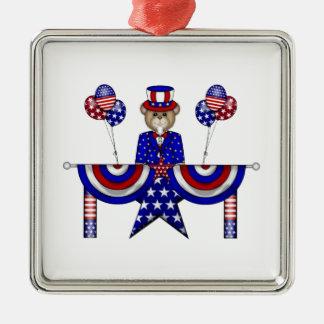 4th of July Teddy President Metal Ornament