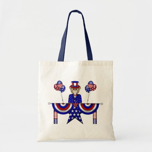 4th of July Teddy President Tote Bags