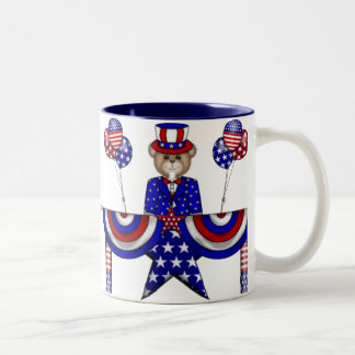 4th of July Teddy President Two-Tone Coffee Mug