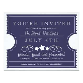 4th Of July Ticket Invitation at Zazzle