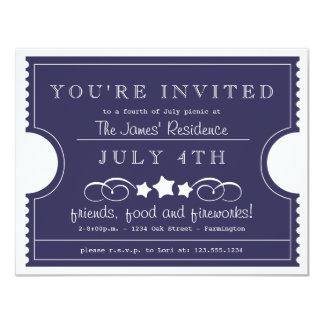 4th of July Ticket Invitation