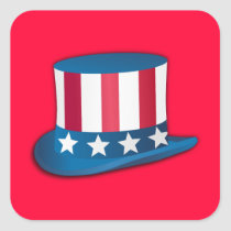 4th of July Top Hat Square Sticker