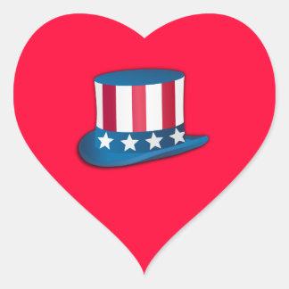 4th of July Top Hat Heart Sticker