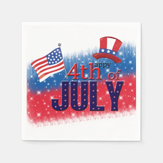 4th of July typography Napkin