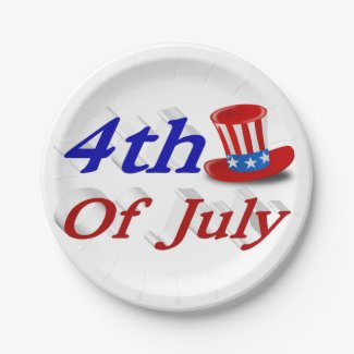 4th of July Uncle Sam 3D Hat Paper Plates