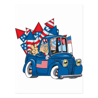 4th of July Uncle Sam In Pickup Postcard