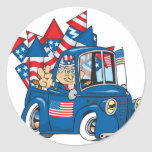 4th of July Uncle Sam In Pickup Round Stickers