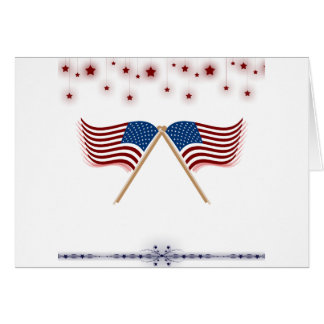 4th of July US Flags and Stars Greeting Card