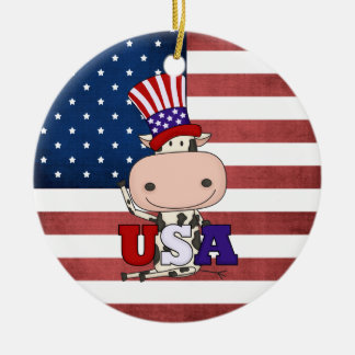 4th Of July USA Cow Christmas Tree Ornament