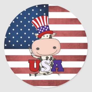 4th Of July USA Cow Classic Round Sticker