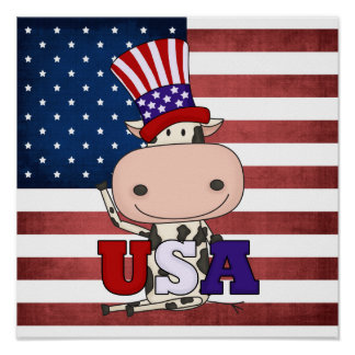 4th Of July USA Cow Print