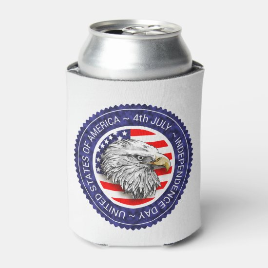 4th of July - USA/EAGLE Can Cooler