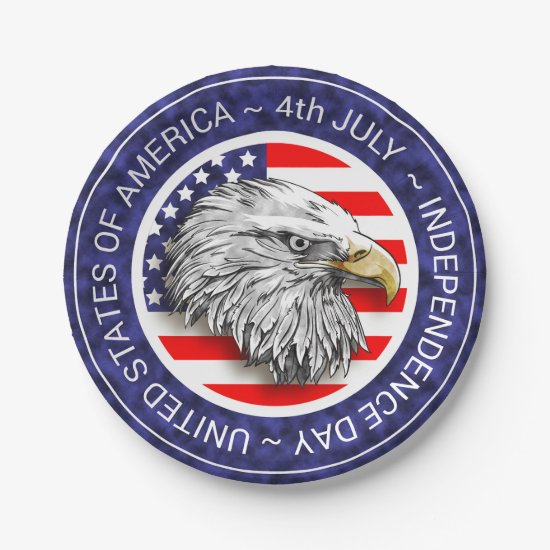 4th of July - USA/EAGLE Paper Plate