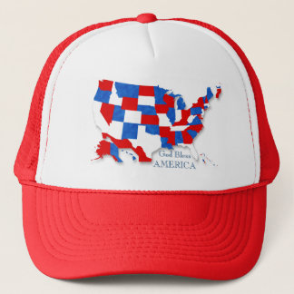 4th of July - USA Flag/Map 2 Trucker Hat