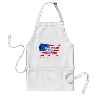 4th of July - USA Flag/Map Adult Apron