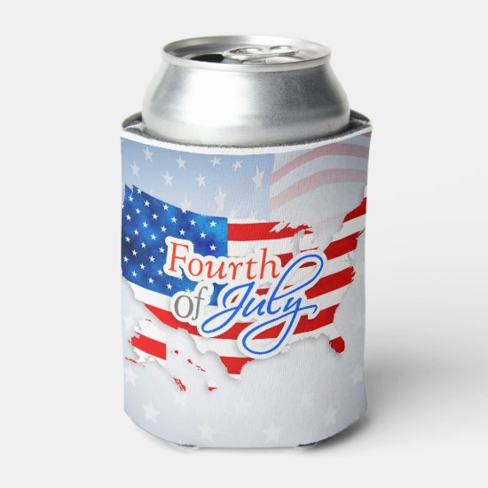 4th of July - USA Flag/Map Can Cooler