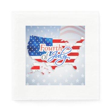 USA Themed 4th of July - USA Flag/Map Napkin