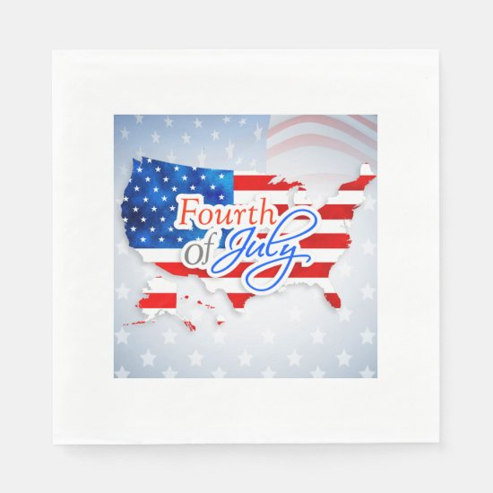 4th of July - USA Flag/Map Napkin