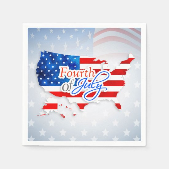4th of July - USA Flag/Map Paper Napkin