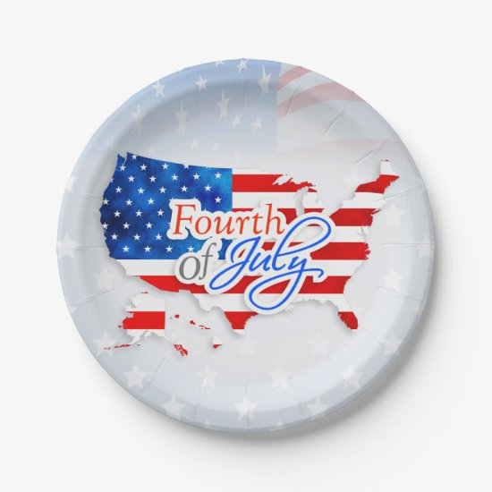 4th of July - USA Flag/Map Paper Plate