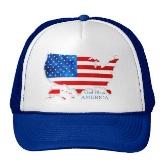 4th of July - USA Flag/Map Trucker Hat