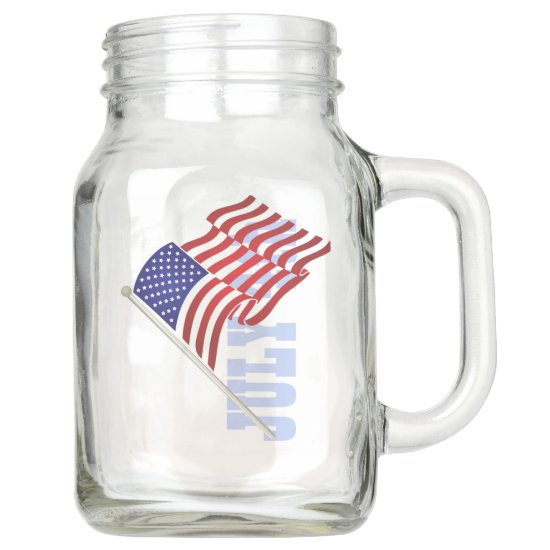 4th of July,USA Flag, Stars & Stripes, Country Mason Jar