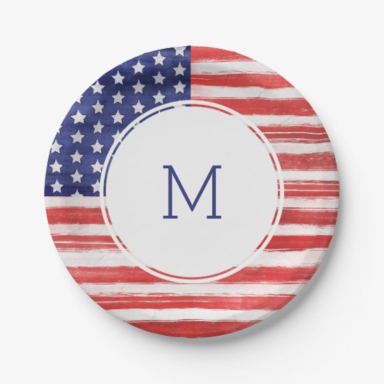 4th of July USA Flag Stars & Stripes Monogram Paper Plate