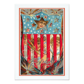4th of July - Vintage Art Personalized Invitations