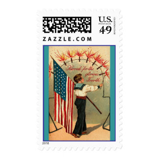 4th of July - Vintage Art Postage Stamp
