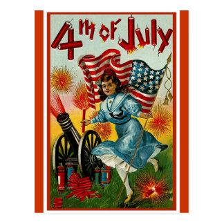 4th of July - Vintage Art Postcard