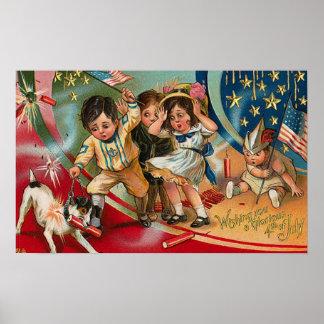 4th of July - Vintage Art Poster