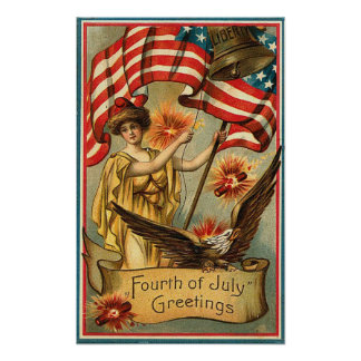 4th of July - Vintage Art Poster
