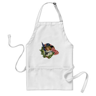 4th of July Vintage Girl with Flags Adult Apron