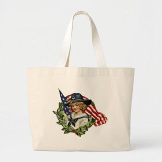 4th of July Vintage Girl with Flags Tote Bag