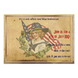 4th of July Vintage Girl with Flags Card