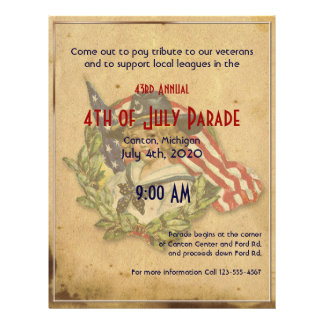 4th of July Vintage Girl with Flags Flyer