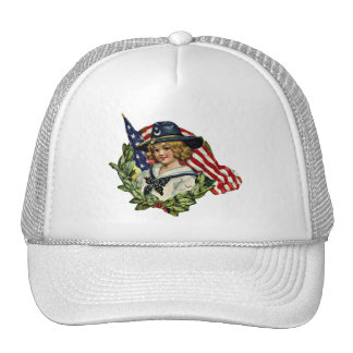 4th of July Vintage Girl with Flags Trucker Hat