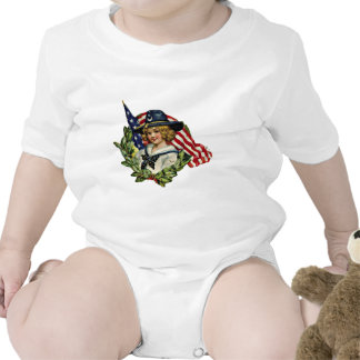 4th of July Vintage Girl with Flags Shirt