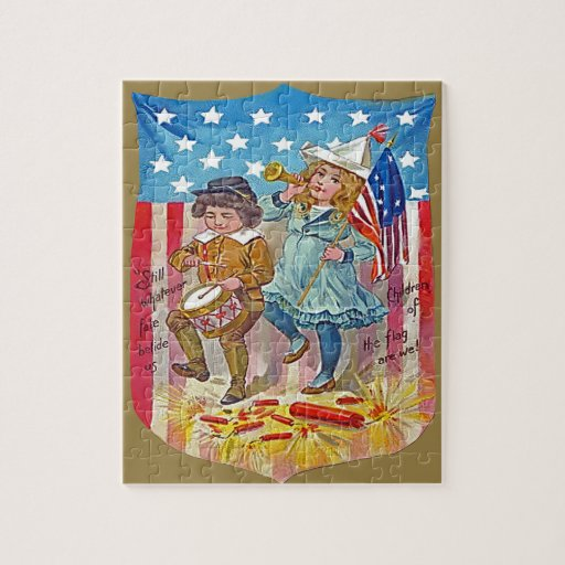 4th of july vintage kids jigsaw puzzle