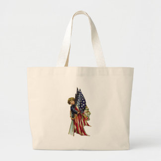 4th of July Vintage Liberty Girl and Flags Tote Bag