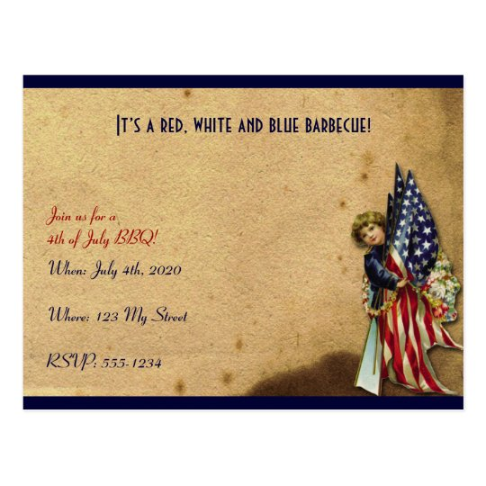 4th of July Vintage Liberty Girl with Flags Postcard