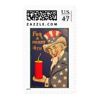 4th of July Vintage Postage Stamp