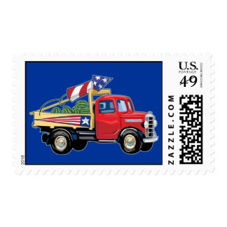 4th of July Vintage Truck Postage Stamps