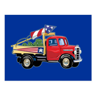 4th of July Vintage Truck Postcard