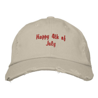 4th of July - Wear it Proudly ! Embroidered Baseball Hat