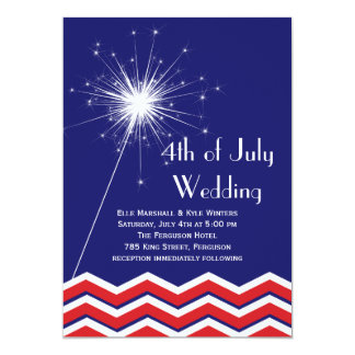 "4th of July Wedding Invitation with Chevrons 5"" X 7"" Invitation Card"