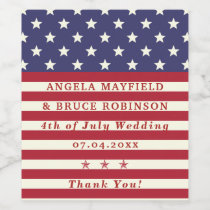 4th of July Wedding Thank You Stars Stripes Names Wine Label