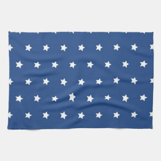 4th Of July White Stars on Navy Background Pattern Hand Towel
